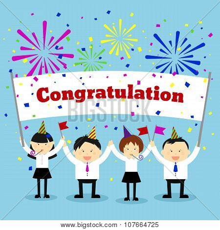 Businessmen holding congratulation sign.  Vector concept background