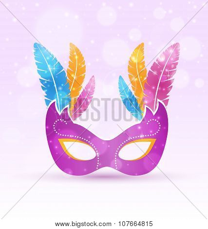 Violet Carnival Flat Mask With Multicolored Feathers On Violet