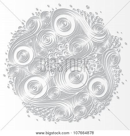 White Paper Pattern With Circle Shape. Mandala.