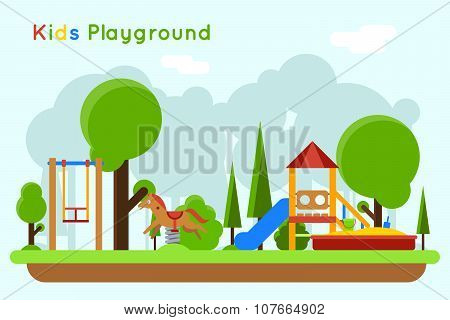 Kids playground flat vector concept background