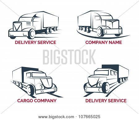 Cargo truck and delivery service logo vector templates set