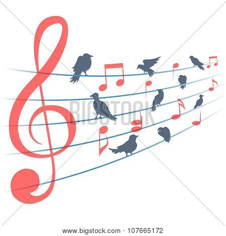 Abstract vector background with music notes and birds