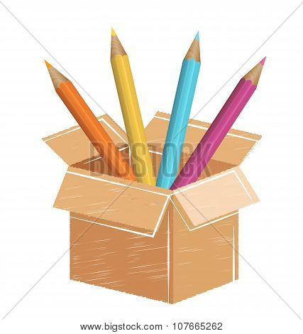 Multicolored Pencils With Drawn Card Box Isolated On White
