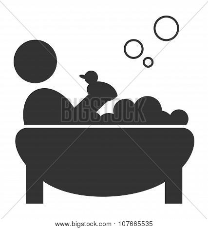 Flat Bathing Icon With Duck Isolated On White