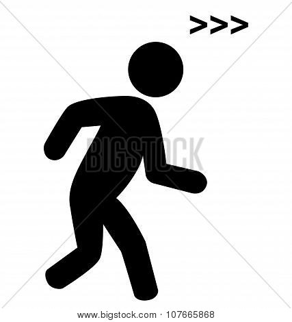 Run Man With Speed Symbol Flat Icon Pictogram Isolated On White