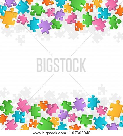 Bright Fun Jigsaw Puzzle Background On White