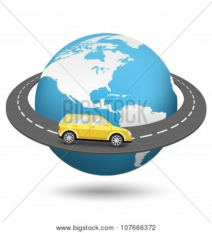 Globe With Road Around The World And Car On White