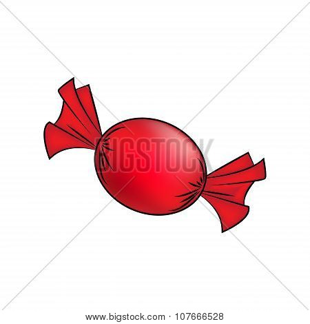 Christmas Wrapped Candy. Red Packaged Sweet, Goody In A Piece Of Paper. Vector Illustration Isolated