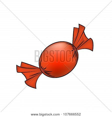 Christmas Wrapped Candy. Orange Packaged Sweet, Goody In A Piece Of Paper. Vector Illustration Isola