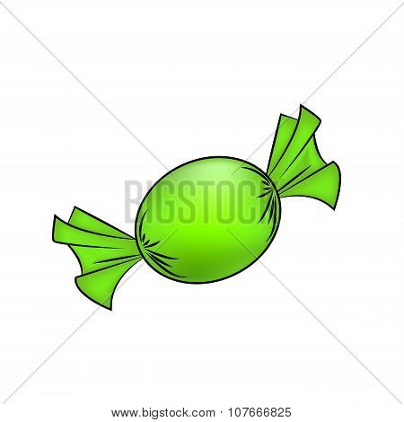 Christmas Wrapped Candy. Green Packaged Sweet, Goody In A Piece Of Paper. Vector Illustration Isolat