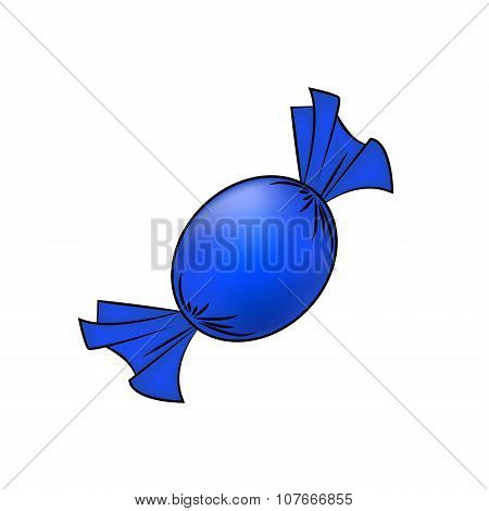 Christmas Wrapped Candy. Blue Packaged Sweet, Goody In A Piece Of Paper. Vector Illustration Isolate