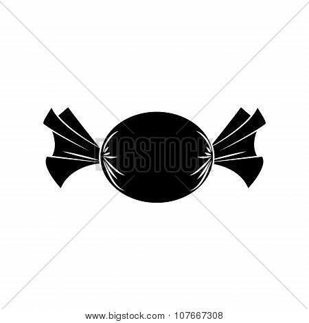 Christmas Wrapped Candy. Silhouette Of Packaged Sweet, Goody In A Piece Of Paper. Vector Illustratio