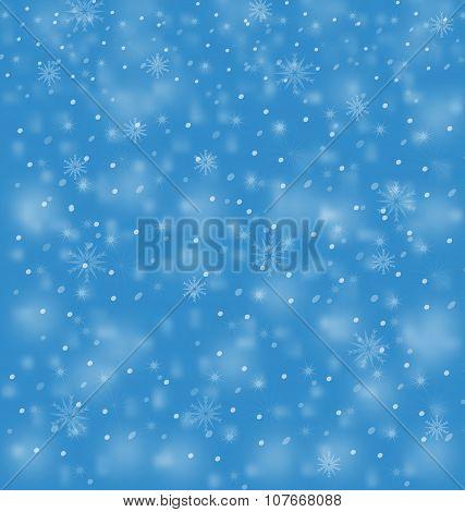 White Snowfall Blizzard On Blue Background