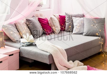 Large Bed With Decorative Cushions