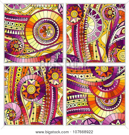 Set of doodle ethnic hand drawn vector cards