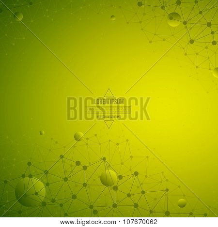 3D Abstract Vector Technology Green Background