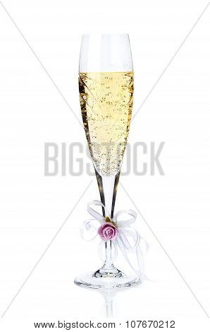 Decorated Glass Of Champagne Isolated On White Background