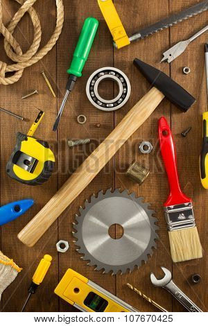 work tools and instruments on wooden background