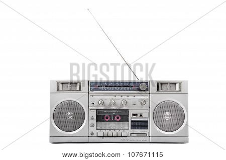 1980S Silver Radio Boom Box  With Antenna Up Isolated On White