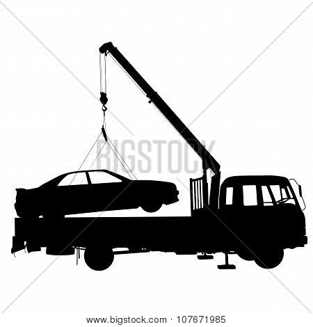 Black Silhouette Car Towing Truck.  Vector Illustration.