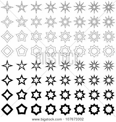 Black star shape collection