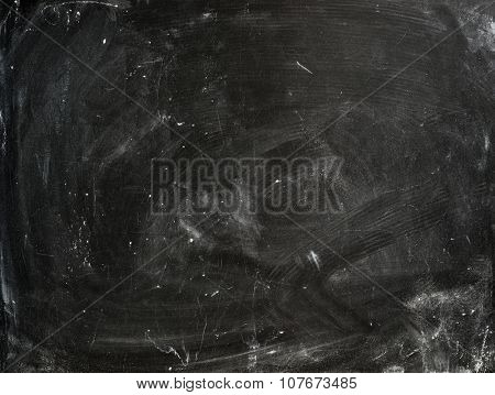 Chalk rubbed out on old empty blackboard for text space