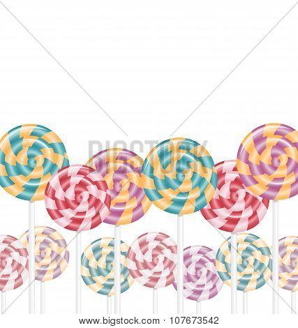 Multicolored Lollipops On White