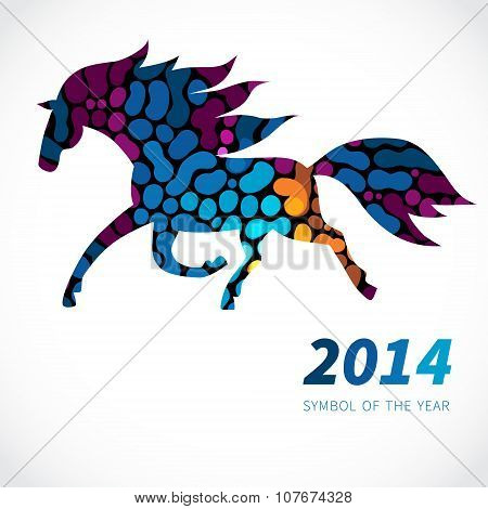 Horse, Decorated With Bright Abstract Dots Patterns.