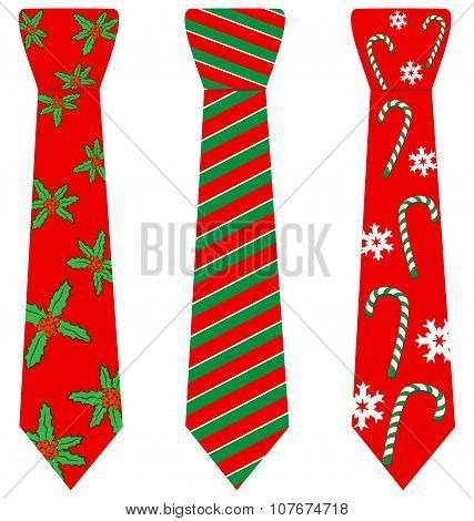 Red Christmas Ties With Print On White