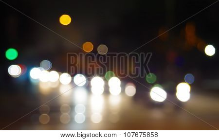 Abstract Blurry Spots Of Light In The Night City Street