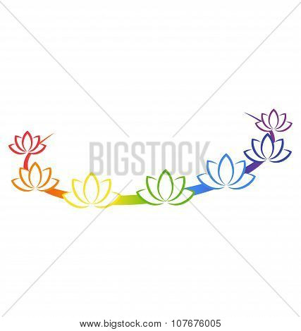 Yoga Emblem With Abstract Chakra Lotuses Isolated On White