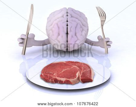 The Brain With Hands, Utensils And Steak