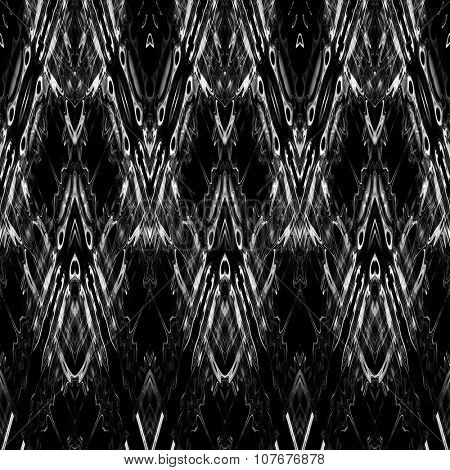 art monochrome ornamental ethnic styled horizontal seamless pattern with symmetrical zigzag; blurred watercolor background in black and white colors. Pat 7