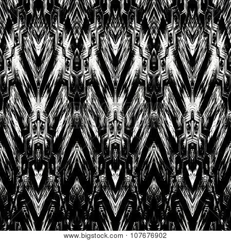 art monochrome ornamental ethnic styled horizontal seamless pattern with symmetrical zigzag; blurred watercolor background in black and white colors. Pat 16