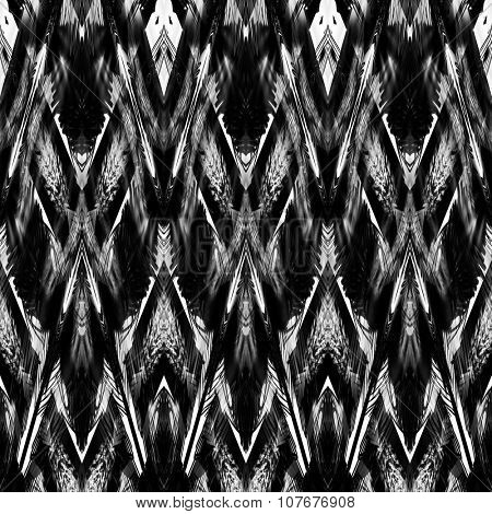 art monochrome ornamental ethnic styled horizontal seamless pattern with symmetrical zigzag; blurred watercolor background in black and white colors. Pat 12