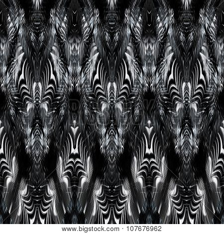 art monochrome ornamental ethnic styled horizontal seamless pattern with symmetrical zigzag; blurred watercolor background in black and white colors. Pat 31