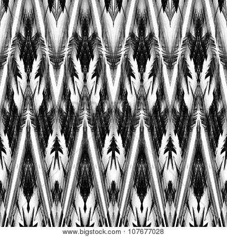 art monochrome ornamental ethnic styled horizontal seamless pattern with symmetrical zigzag; blurred watercolor background in black and white colors. Pat 26
