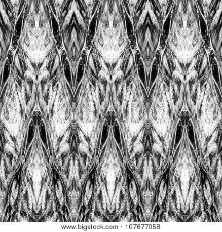 art monochrome ornamental ethnic styled horizontal seamless pattern with symmetrical zigzag; blurred watercolor background in black and white colors. Pat 14