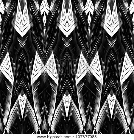 art monochrome ornamental ethnic styled horizontal seamless pattern with symmetrical zigzag; blurred watercolor background in black and white colors. Pat 11