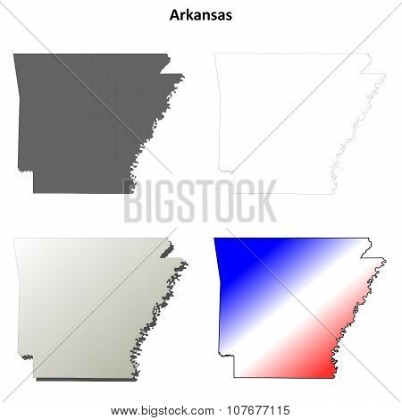 Arkansas outline map set
