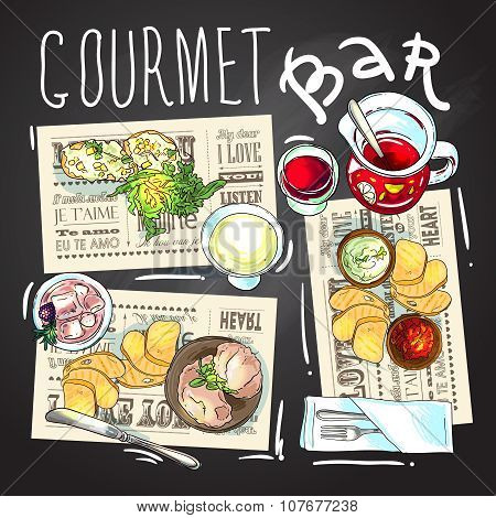 Gourmet bar illustration