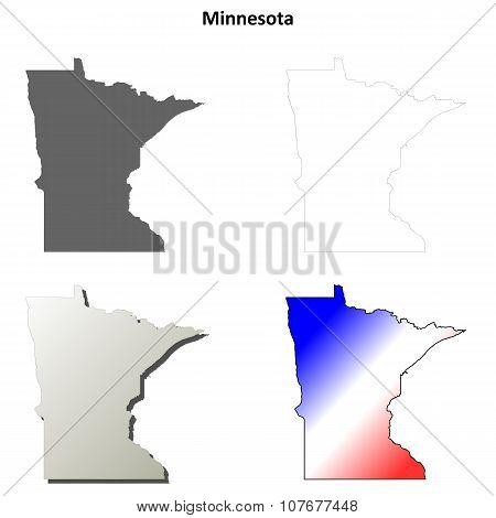 Minnesota outline map set
