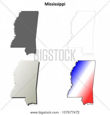 Mississippi outline map set