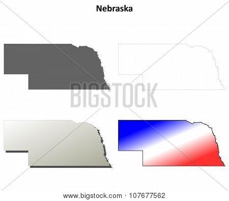 Nebraska outline map set