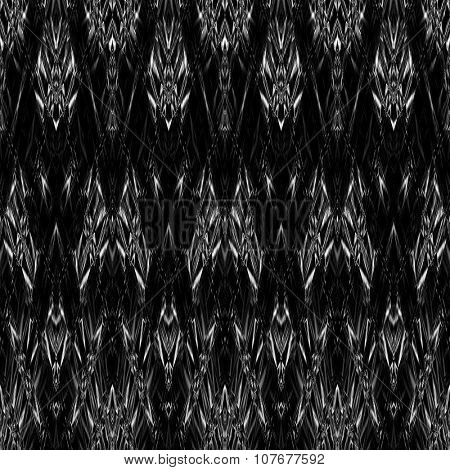 art monochrome ornamental ethnic styled horizontal seamless pattern with symmetrical zigzag; blurred watercolor background in black and white colors. Pat 28
