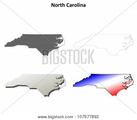 North Carolina outline map set