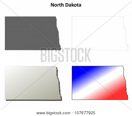 North Dakota outline map set