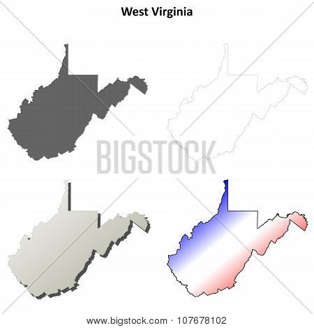 West Virginia outline map set