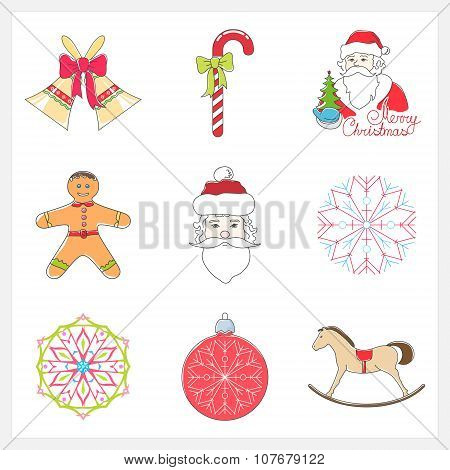 Set Of Linear Color Christmas Icons