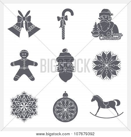 Set Monochrome Silhouettes Christmas Icons